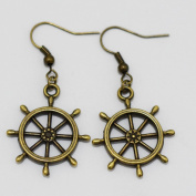 Charm Wheels Earrings. Dangle Earrings. Hoop Earrings. Gift Idea for Women.