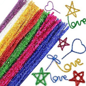 Thanksgiving Christmas Gift decoration 100 pcs2015 hot Colour Shiny Chenille Stems Pipe Cleaners Kindergarden DIY Handicraft Materials for Creative Kids Education Toys