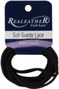 Realeather Crafts SPS02-2031 Soft-Suede Carded Lace, 0.094 by 2-Yard, Gothic Black by Realeather Crafts