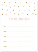 24 Cnt Gold Pink Glitter Graphic Hearts Fill-in Baby Shower Invitations