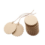 Joinwin® New Hot 50pcs Scalloped Wedding Kraft Paper Tag Lolly Bag Bonbonniere Favour Gift Tag with Jute Twines JIW039