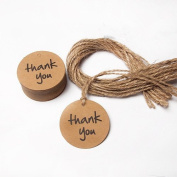 Joinwin® New Hot Thank You Wedding Brown Kraft Paper Tag Bonbonniere Favour Gift Tags with Jute Twines Perfect Best Wedding Birthday Party Baby Shower Favour (Round) JIW036
