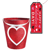 Valentines Day Inspired Glitter Heart Treat Bucket With Cellophane Bag for Wrapping- Plus Bonus Happy Valentine's Day Gift Tag