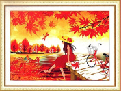 Home Decoration 5D DIY Printed Needlework Sets Counted Cross Stitch Kits Embroidery Kits, A Pretty Girl in Fall