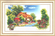 Home Decoration 5D DIY Printed Needlework Sets Counted Cross Stitch Kits Embroidery Kits, Cottage Garden River