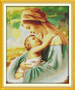 Home Decoration 5D DIY Printed Needlework Sets Counted Cross Stitch Kits Embroidery Kits, Madonna and Child