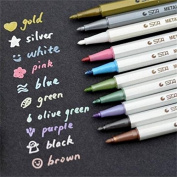 UZZO Creative Stationery DIY Metallic Marker Pens - Use Markers For Card Making, DIY Photo Album, Use on Any Surface-paper, Glass, Plastic, Pottery,