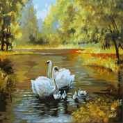 KINGSO DIY Oil Painting Paint By Numbers Kit Art Craft Swans 40*50cm