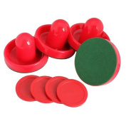 Dcolor 4Pcs Air Hockey Table Goalies with 4pcs Puck Felt Pusher Mallet Grip Colour Red