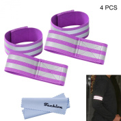 Techion Reflective Fabric Armband / Ankle Bands with Velcro and Two Reflective Strips for Cycling / Biking / Walking / Jogging / Running Gear and Outdoor Clothing