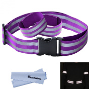 Techion Reflective Elastic Fabric Waist Belt Band with Buckle Clip and Ankle/Arm Bands (Pair) for Cycling / Biking / Walking / Jogging / Running Gear Vest and Outdoor Clothing