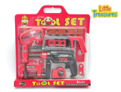 Little Treasures 26 piece kids pretend and play children's tool set with friction action drill toy and safety glasses