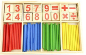 Zerowin Wooden Toys Number Cards and Counting Rods Montessori Teaching Aids Math Sticks Educational Toy