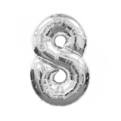 Number 8 Silver SuperShape Foil Balloon