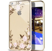 iPhone 6S Case,iPhone 6 Case,NSSTAR Pink Butterfly Floral Flower Bling Crystal Rhinestone Diamonds Clear Rubber Golden Plating Frame TPU Soft Silicone Bumper Case Cover for Apple iPhone 6/6S 12cm