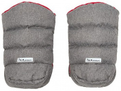 7 A.M. Enfant Warmmuffs Stroller Gloves-Heather Grey with Red Fleece Lining