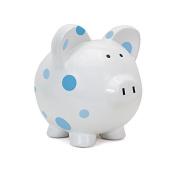 Child to Cherish Large Pig White with Polka Dot Toy Bank, Blue