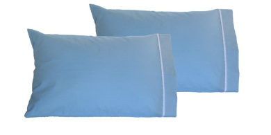 Toddler Pillowcases 13x18 - Set of 2 Units - Soft Cotton - Machine Washable (Blue)