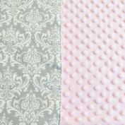 Premium Carseat Canopy Cover with Peekaboo Opening- Large Damask Print with Soft Pink Dot Minky | Best for Infant Car Seat, Boy or Girl | All Weather | Universal Fit | Baby Shower Gift | Newborn Decor