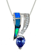 Sterling Silver Simulated Opal and Simulated Tanzanit Necklace