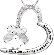 """ALOV Jewellery Sterling Silver """"Always my daughter forever my friend"""" Love Heart Pendant Necklace Birthday Christmas Gift For Daughter"""