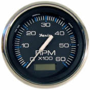 Faria Beede Instruments 33732 10cm . Faria Chesapeake Black Stainless Steel Tachometer with Hourmeter - 6,000 RPM Gas, Inboard
