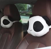 Calcifer 2Pcs Cute Cartoon Car Panda Pillow Headrest Plush Neck Rest Pillow