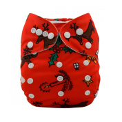 LilBit 2015 New Christmas Design Red Baby Cloth Nappies With 2 Inserts