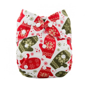 LilBit Christmas Design One size Pocket Baby Cloth Nappies