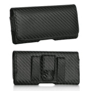 Premium Horizontal Black Carbon Fibre Pattern Case Pouch Holster for Apple iPhone 6S / 6 (12cm )-With Magnetic Closure with Belt Clip and Belt Loops-