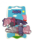Official Licenced Very Sparkly Padded Glitter Peppa Pig 2 x Hair Clips Sleepies Snap Clips Grips