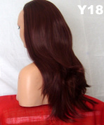 WIG FASHION 60cm Ladies 3/4 Half Fall Wig - Sexy Long Straight Layered Flick Style - RED BROWN - Heat Resistant Synthetic - Clip In Hair Piece Women Extension Y18