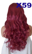 WIG FASHION 70cm Ladies 3/4 Half Fall Wig - Sexy Long Layered Curly Wavy Style - BURGUNDY RED - Heat Resistant Synthetic - Clip In Hair Piece Women Extension X59