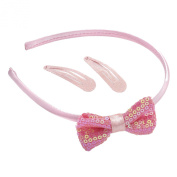 GIZZY® Girls Three Piece Pink Sequin and Glitter Snap Clip and Headband Set.