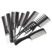 ESYN 10 Piece Hair Styling Comb Set Professional Black Hairdressing Brush