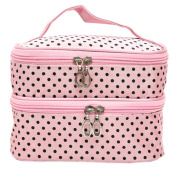 La Vogue Women Polka Dot Double-Layer Cosmetic Bag Make-up Organiser Case Pink One Size