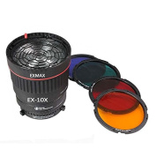 EXMAX EX-10X LED Studio Focusing Lens 10X Studio Light Focus Mount Lens Adjust for Flash & LED Light With 4 Colour Filters