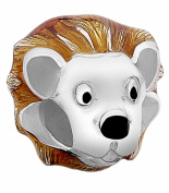 Nenalina Lion Head Bead Silver with Enamel Yellow in 925 Sterling Silver, also compatible with Pandora Bracelets 717534-001