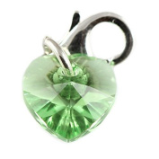 Sterling Silver Peridot Crystal Heart Clip on Charm Made with. Elements- With 11mm Clasp