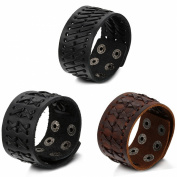 Aroncent 3pcs Braided Mens Wide Black Leather Bracelet Leather Wristband Bangle Bracelet with Snap Buttons