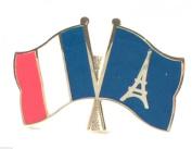 France & Eiffel Tower Paris Flags Friendship Courtesy Enamel Lapel Pin Badge