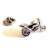 silver plated racing motorbike Lapel Pin Badge / tie pin, in gift box ideal gift