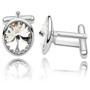 Cufflinks with. Elements Clear Diamond Crystals Dad Mens Unisex Cuff Links