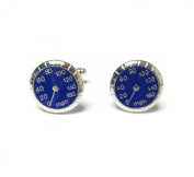 Car Speed Dial Speedo MPH Cufflinks Wedding Business Novelty Blue and Silver