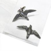 English Made Peregrine Falcon Pewter Cufflinks in Leatherette Box X2TSBCB35