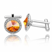 Cufflinks with. Elements Topaz Diamond Crystals Dad Mens Unisex Cuff Links