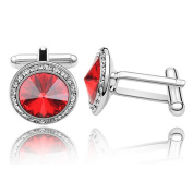 Cufflinks with. Elements Ruby Red Diamond Crystals Dad Mens Unisex Cuff Links