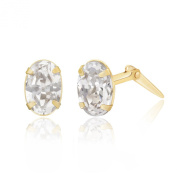 9ct yellow gold white oval cubic zirconia Andralok stud earrings / Gift box
