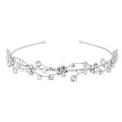 Jon Richard Crystal flower and pearl wave headband Silver