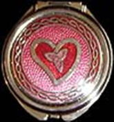 Compact Mirror in Celtic Trinity Knot Heart Design.